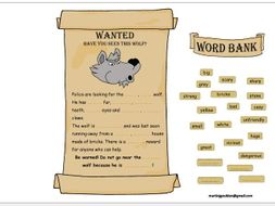 The Three Little Pigs - Adjectives - Wanted Poster - Editable - Traditional Tales