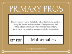 Divide numbers up to 4 digits by a two-digit whole number using the formal written method of long di