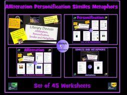 Similes, Metaphors, Personification, Alliteration : 45 Worksheets Bundle