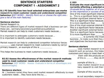 Level 2 Tech Award in Enterprise Sentence Starters - Component 1 assignments 1, 2 + 3 Boost outcomes