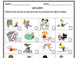 Les Loisirs (French Free-Time activities)  worksheets for distance learning.