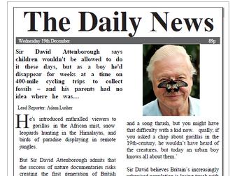 Sir David Attenborough Newspaper Report Comprehension KS2