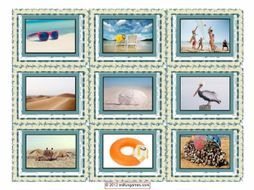 Beach Activities & Items Cards 4 Pages = 36 Cards