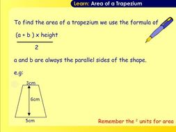 Outstanding Area of a Trapezium Lesson & Resources
