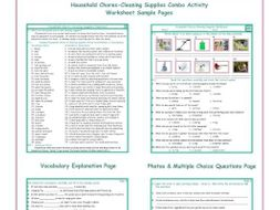 Household Chores-Cleaning Supplies Combo Activity Worksheets