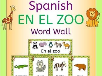 Spanish Zoo Animals - En El Zoo - Word Wall