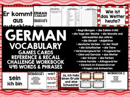 GERMAN VOCABULARY CARDS WITH REFERENCE & RECALL WORKBOOKS #1