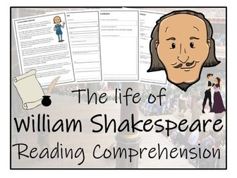 UKS2 History - William Shakespeare Reading Comprehension Activity