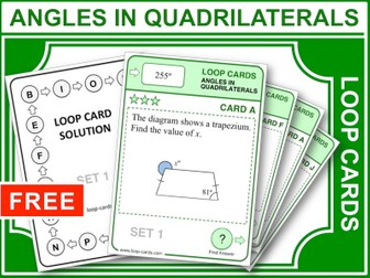Angles in Quadrilaterals (Loop Cards)