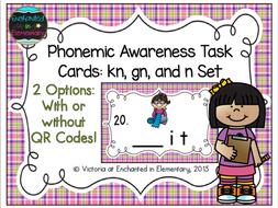 Phonemic Awareness Task Cards: Kn, gn, and n Set