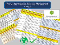 GCSE AQA 9-1: Resource Management -Energy Option - Knowledge Organisers and Revision Summaries.