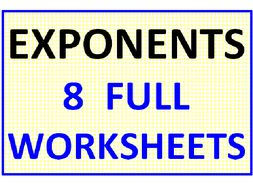 Exponents 8 Worksheets