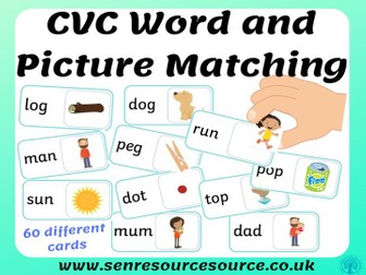 CVC word and picture matching cards