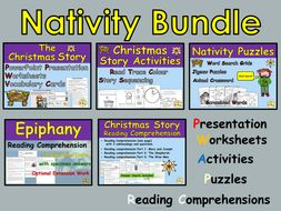 Christmas Bundle Christmas Story Nativity Epiphany Worksheets Activities Presentation Reading Comprehension Passages