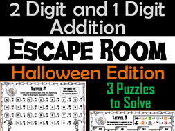Two Digit and One Digit Addition Game: Escape Room Halloween Math