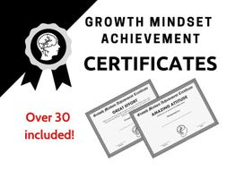 Growth Mindset Achievement Certificates  Black and White Edition