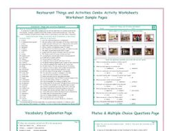Restaurant Things and Activities Combo Activity Worksheets