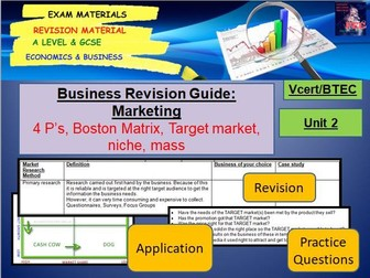 Marketing Revision Guide: GCSE Business; BTEC Business; VCert in Business and Enterprise
