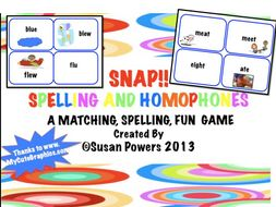SNAP! Spelling and Matching Homophones Activtities