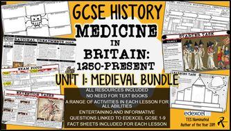 GCSE History Edexcel: Medicine in Britain UNIT 1 Bundle