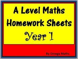A Level Maths Homework Sheets Year 1