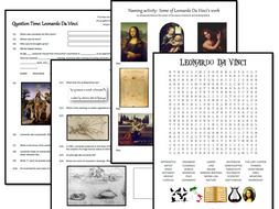 Leonardo Da Vinci activity pack - questions, naming artwork and wordsearch