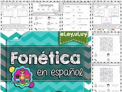 Spanish Phonics Book Set #15: Diptongos ei,ey,ui,uy