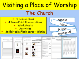 Christianity - Visiting a Place of Worship - Church, Flash cards ...