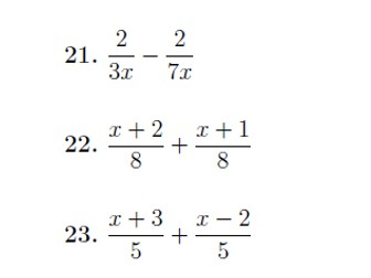 Adding and subtracting algebraic fractions (easy) worksheet no 2 (with solutions)