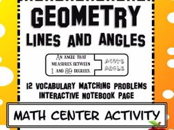 Geometry Vocabulary Lines and Angles Matching Center Activity