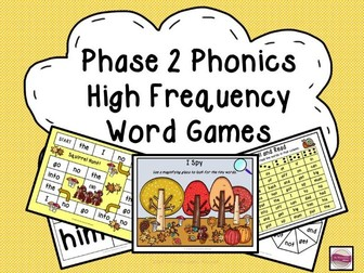 Phase 2 Phonics High Frequency Word Games & Activities