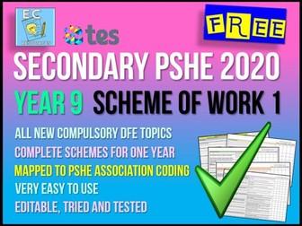 PSHE Year 9 Scheme of Work 1 - Relationships