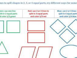 Draw Lines to split shapes in fractions
