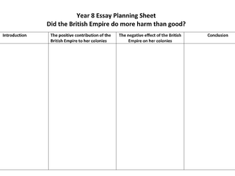 KS3 -British Empire Essay Plan