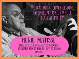Henri Matisse artist research & analysis worksheet