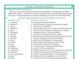 Feelings and Emotions Explanation-Definitions
