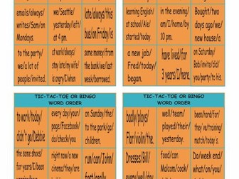 Word Order Tic-Tac-Toe or Bingo