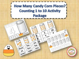 Count 1 to 10 - How Many Candy Corn Pieces Counting Activity Package