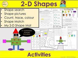 2D Shapes Worksheets /Activities - 2D Shape Mat, Count Trace Colour, Shape Pictures- Reception/KS1