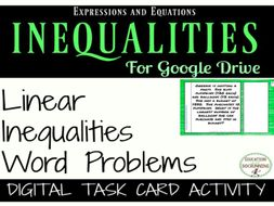 Linear Inequalities Digital Task Card Activity