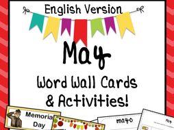 May Word Wall Cards AND Activities! English version