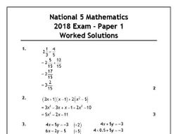 National 5 Maths 2018 Exam Solutions