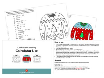 Christmas Calculated Colouring (Calculator Use)