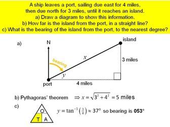 Bearings with trigonometry
