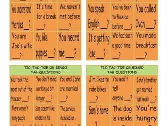 Tag Questions Tic-Tac-Toe or Bingo
