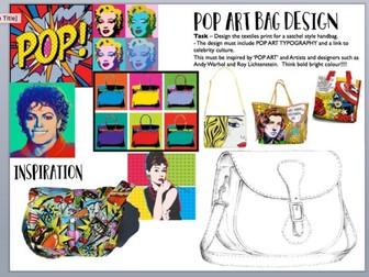 Pop Art Design a Satchel Worksheet / Cover Work Art / Textiles