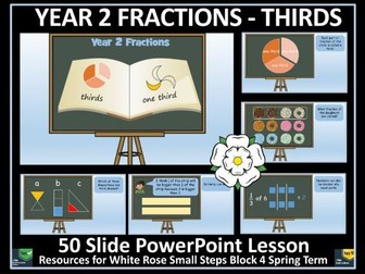 Fractions - Thirds - Year 2 - Spring Term - PowerPoint Lesson - White Rose Maths Style