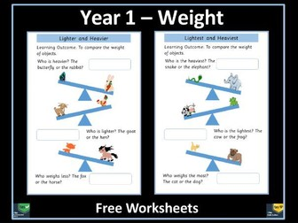 Weight Year 1 Free Worksheets