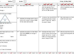 GCSE Physics and/or Combined Science Differentiated Equation Worksheet - Power, Energy and Time