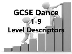 KS3-KS4 Dance 1-9 Level descriptors with performance, choreography and appreciation glossary's